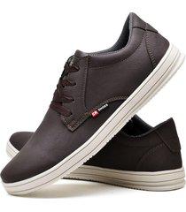 sapatãªnis sapato casual cr shoes com cadarã§o 1510m marrom. - marrom - masculino - couro sintã©tico - dafiti