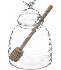 słój szklany na miód z czerpakiem