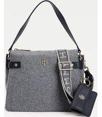 tommy hilfiger women's soft satchel and wallet grey melton -