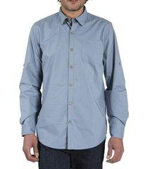 camisa algodón orgánico hombre galiton azul rockford
