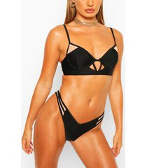 exposed underwired soft cup mesh panel bikini, black