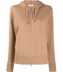 brunello cucinelli fine knit zipped front hoodie - neutrals
