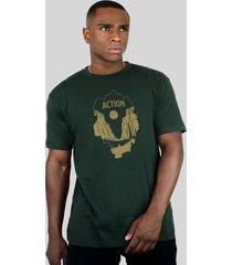 camiseta action clothing el capitan verde musgo - verde - algodã£o - dafiti