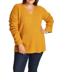 plus size women's 1.state rib knit v-neck sweater, size 2x - yellow