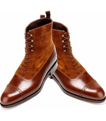 handmade ankle high two tone boots. cap toe style tan suede & leather men boot