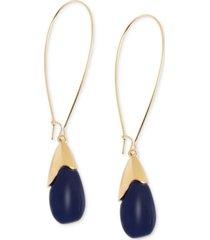 robert lee morris soho earrings, gold-tone blue oval bead drop earrings