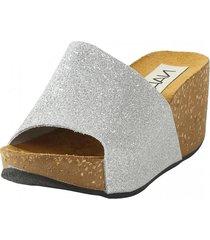 sandalia glitter plata nara