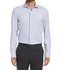 boss jason slim fit microprint performance stretch dress shirt, size 17.5 in blue at nordstrom