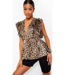 blouse met knopen en kanten afwerking, brown