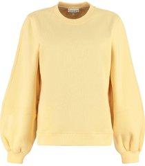 ganni cotton crew-neck sweatshirt