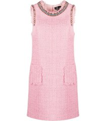 blumarine gemstone-embellished tweed mini dress - pink