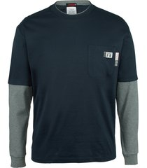 wolverine men's fr miter long sleeve tee navy, size l