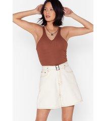 womens white wash denim belted long shorts - ecru