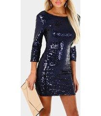 azul marino brillante redondo cuello 3/4 longitud mangas mini vestido