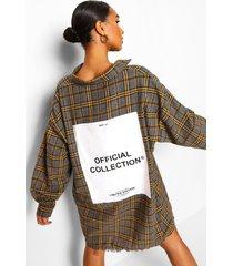 monochrome geruite oversized blouse jurk met rugopdruk, charcoal