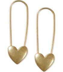lucky brand gold-tone heart safety pin drop earrings