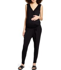 women's fourteenth place belted jersey maternity jumpsuit, size x-large - black