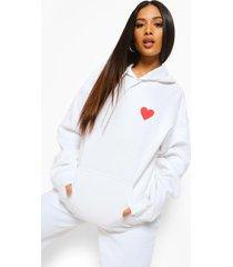 petite oversized hoodie met hartjes borstopdruk, white