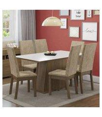 conjunto sala de jantar thaís madesa mesa tampo de madeira com 6 cadeiras rustic/branco/imperial rustic