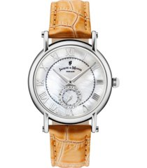 jacques du manoir ladies' orange genuine leather strap with stainless steel case with mother of pearl dial and diamond sub dial, 36mm