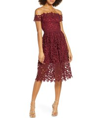 chi chi london off the shoulder lace cocktail dress, size 4 in burgundy at nordstrom