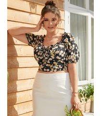 blusa de manga corta con diseño de cremallera y borde de lechuga calicó talla grande yoins