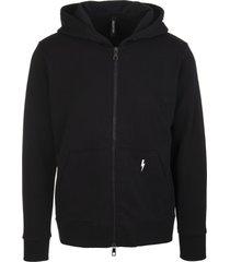 neil barrett man black hoodie with zip and fair-isle thunderbolt hood