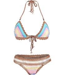 trendy halter sleeveless colored knitted women's bikini set