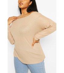 plus oversized geribbeld shirt met lange mouwen, steenrood