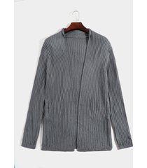 hombres otoño streetwear cárdigan de punto fino de manga larga suéter