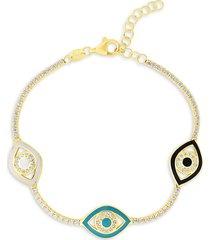 chloe & madison women's 14k gold vermeil, cubic zirconia & enamel evil eye tennis bracelet