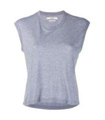 isabel marant étoile camiseta cropped com decote arredondado - azul