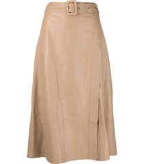 arma a-line leather midi skirt - neutrals