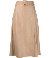 arma a-line leather midi skirt - neutrals