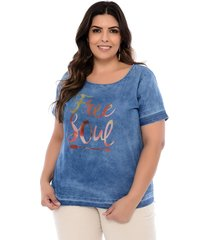 blusa elegance all curves  plus size t-shirt azul free soul