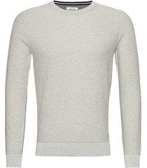 modern basic stickad tröja m. rund krage grå tom tailor