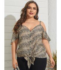 yoins plus talla escote en v leopardo sin espalda diseño blusa de manga corta