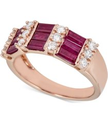 certified ruby (1-1/2 ct. t.w.) & diamond (3/8 ct. t.w.) statement ring in 14k rose gold (also in sapphire & emerald)