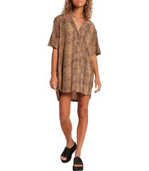volcom in the tropics print tunic shirt, size x-small in animal print at nordstrom