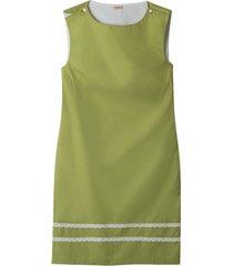 mouwloze jurk met fijne kant-versiering, avocado/wit 40
