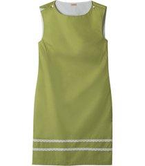 mouwloze jurk met fijne kant-versiering, avocado/wit 38