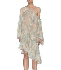 camo print off shoulder asymmetric ruffle dress