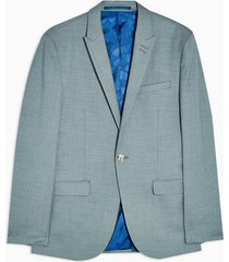 mens sage green skinny fit single breasted suit blazer with peak lapels