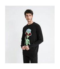 suéter masculino em tricô estampa alien | blue steel | preto | pp