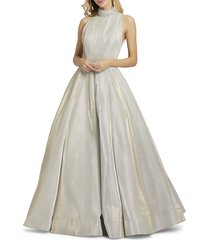 mac duggal women's embellished sleeveless ball gown - white ice - size 0