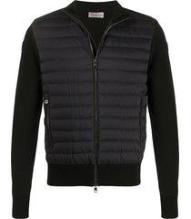 moncler padded panel knitted sweatshirt - black