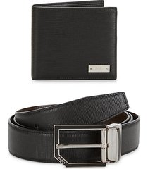 2-piece leather belt & wallet gift box set