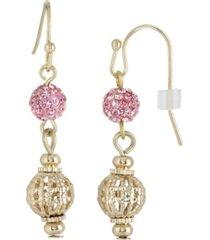 2028 gold-tone pink fireball and filigree drop earrings