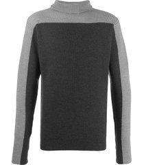 barena contrast panel roll neck sweater - grey