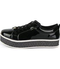 tênis sapatênis casual cr shoes envernizado preto - kanui